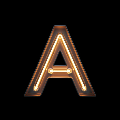 istock Neon Light Alphabet A with clipping path 1056393782