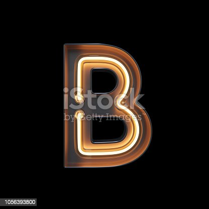 804846868 istock photo Neon Light Alphabet B with clipping path 1056393800