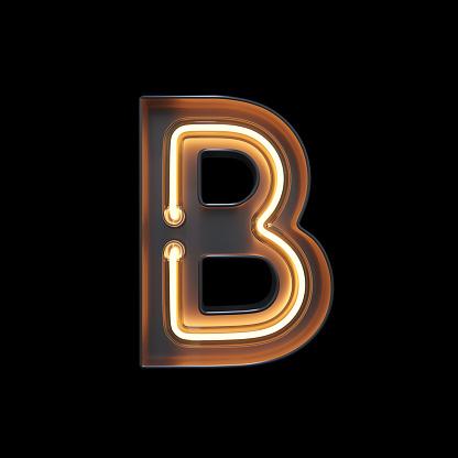 istock Neon Light Alphabet B with clipping path 1056393800