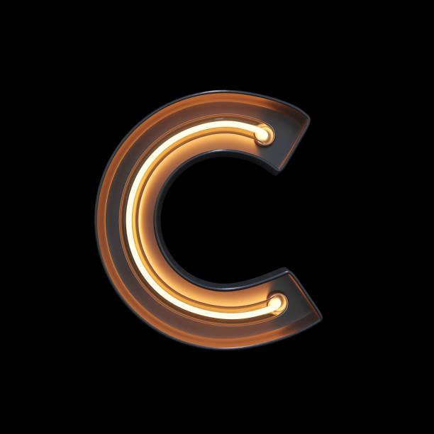 luz de néon alfabeto c com traçado de recorte - c - fotografias e filmes do acervo