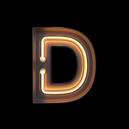 istock Neon Light Alphabet D with clipping path 1056393870