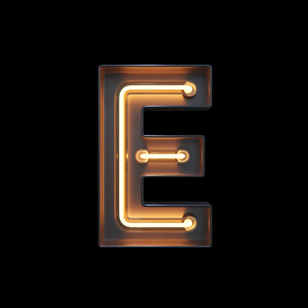 Neon Light Alphabet E with clipping path Neon Light Alphabet E with clipping path. 3D illustration letter e stock pictures, royalty-free photos & images