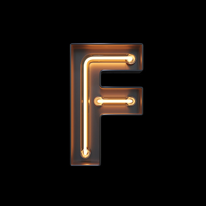 istock Neon Light Alphabet F with clipping path 1056393914