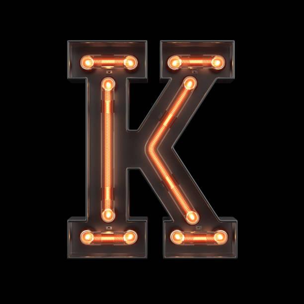 neon light alphabet k - буква k стоковые фото и изображения