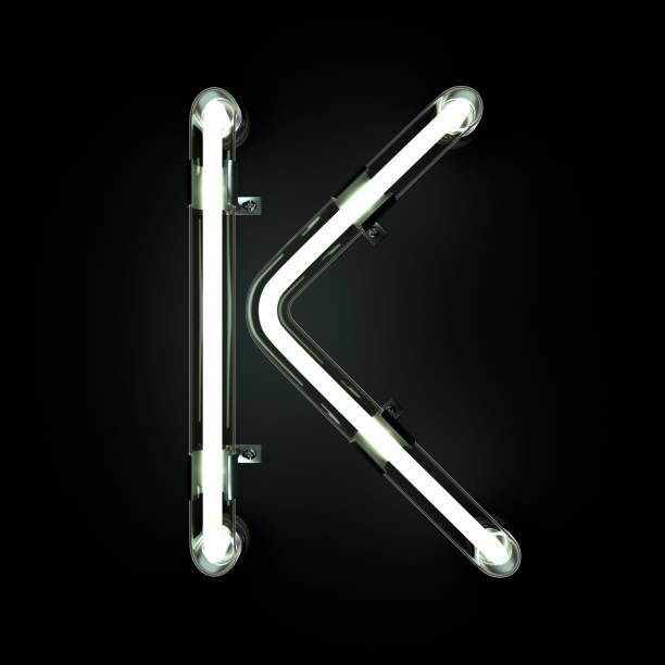 neon light alphabet k. - буква k стоковые фото и изображения