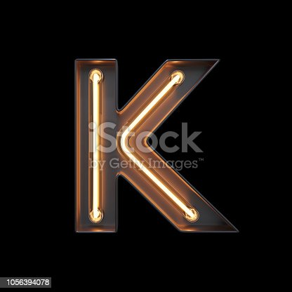 istock Neon Light Alphabet K with clipping path 1056394078