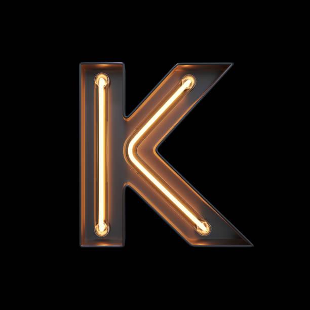 neon light alphabet k with clipping path - буква k стоковые фото и изображения