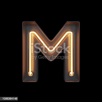 844515966 istock photo Neon Light Alphabet M with clipping path 1056394146