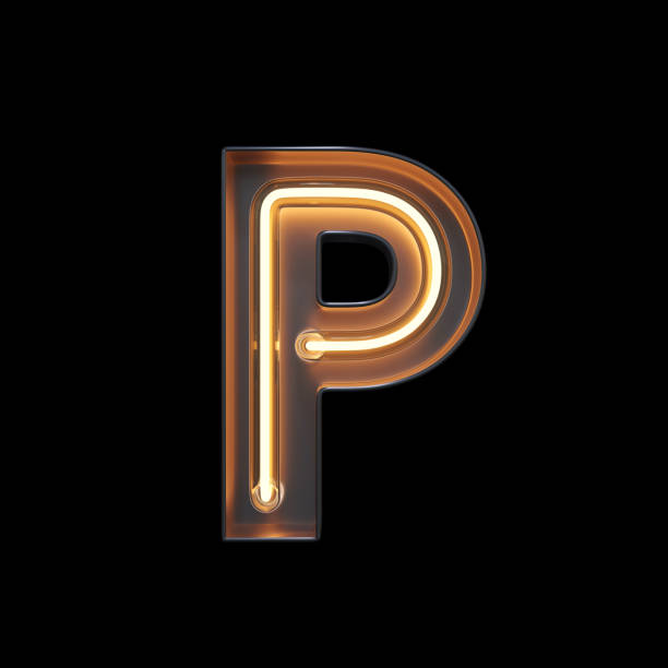 Neon Light Alphabet P with clipping path Neon Light Alphabet P with clipping path. 3D illustration letter p stock pictures, royalty-free photos & images