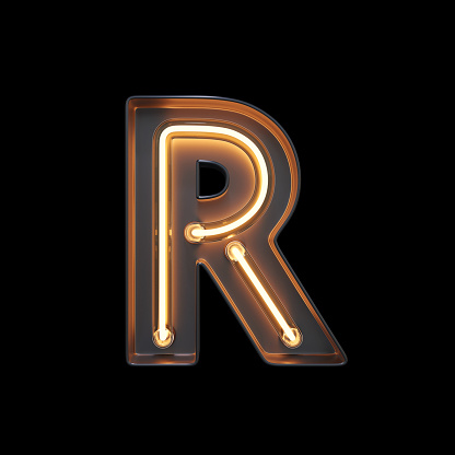 istock Neon Light Alphabet R with clipping path 1056394636