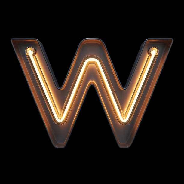Neon Light Alphabet W with clipping path Neon Light Alphabet W with clipping path. 3D illustration letter w stock pictures, royalty-free photos & images