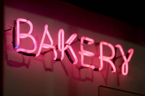 Neon light - Bakery stock photo