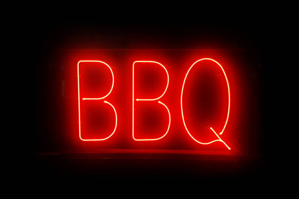 Neon light - BBQ stock photo