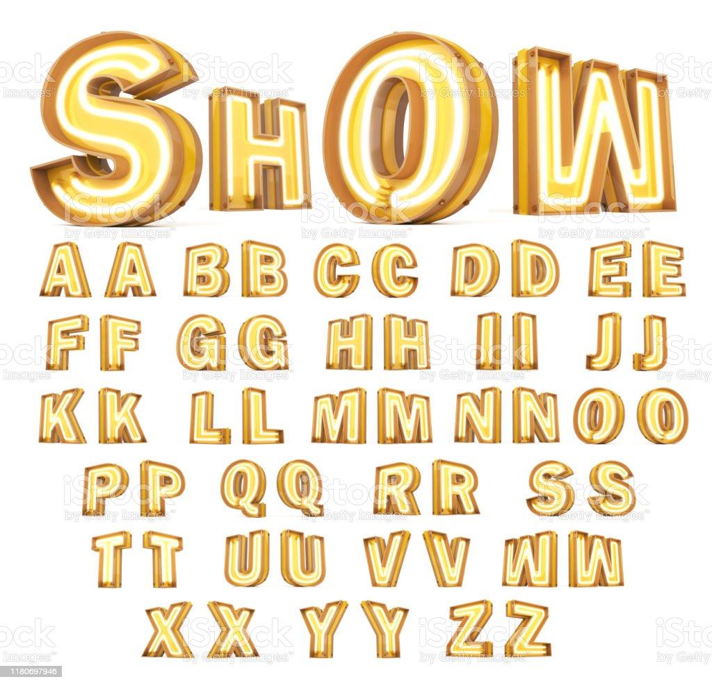 Neon light Digital alphabet 3d rendering on white background - Стоковые фото Алфавит роялти-фри