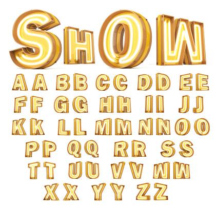 istock Neon light Digital alphabet 3d rendering on white background 1180697946