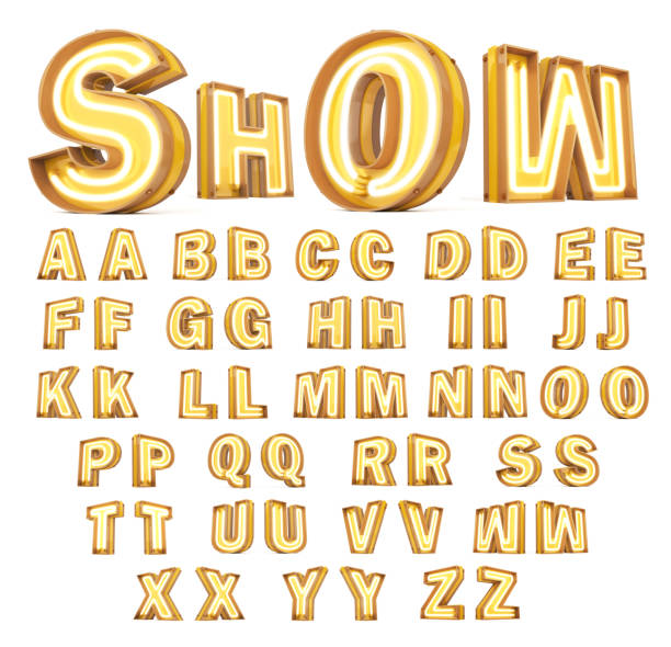 neon light digital alphabet 3d rendering on white background - alfabeto foto e immagini stock