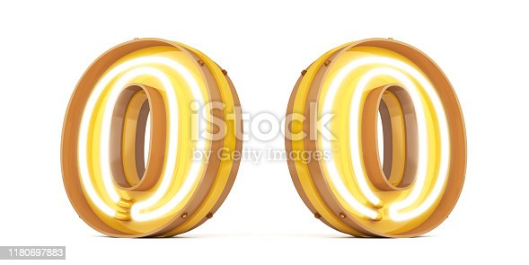 istock Neon light Digital alphabet 3d rendering on white background with clipping paths 1180697883