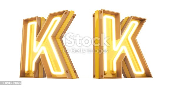 959292740istockphoto Neon light Digital alphabet 3d rendering on white background with clipping paths 1180698066