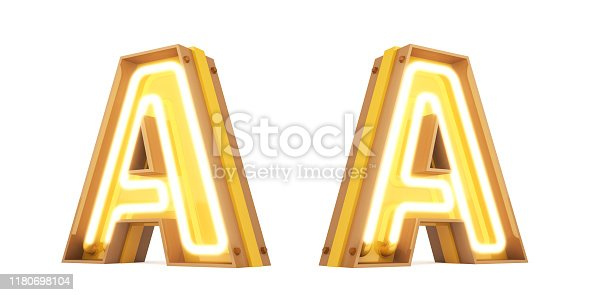 959292740 istock photo Neon light Digital alphabet 3d rendering on white background with clipping paths 1180698104