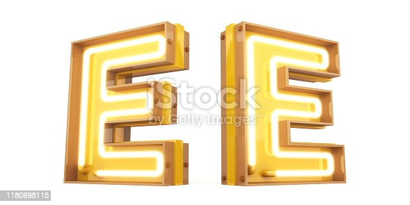 istock Neon light Digital alphabet 3d rendering on white background with clipping paths 1180698115