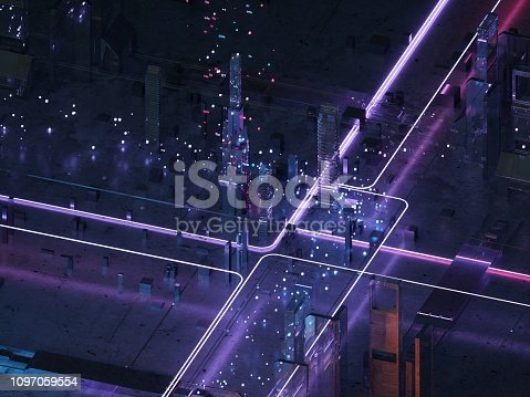 Futuristic city of glass and metal. Retro style of the 80s. Neon light. Transmission of digital data. 3D render-illustration. Isometric view city futuristic neon lights purple.