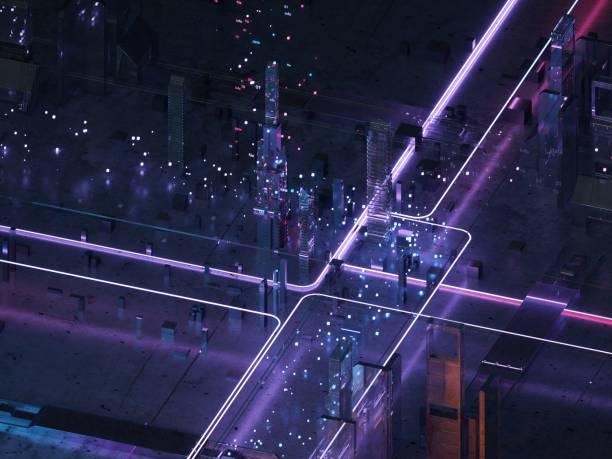 neonlicht futuristische stadt isometrische ansicht - quant stock-fotos und bilder