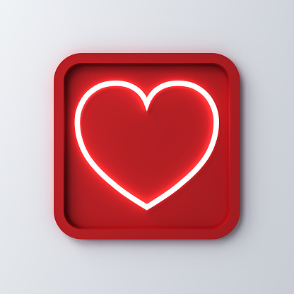 istock Neon light heart in rounded square frame or love button isolated on white  background with shadow for valentines day concepts 3D rendering 1094574326