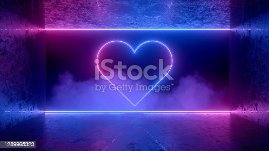 3d rendering of Neon Light Heart Shape Background, Abstract Valentine's Day Concept.