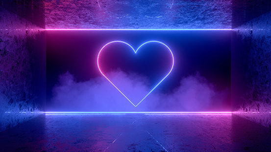 Neon Light Heart Shape Background, Abstract Valentine's Day Concept