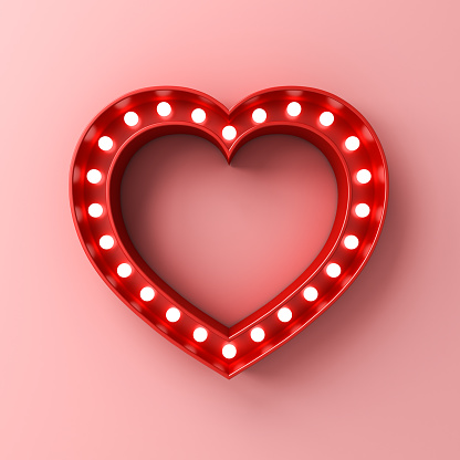 Neon light heart sign banner with blank space on pink pastel color wall background with shadow Design element