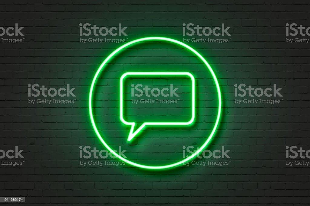 Neon light icon talking balloon'n stock photo