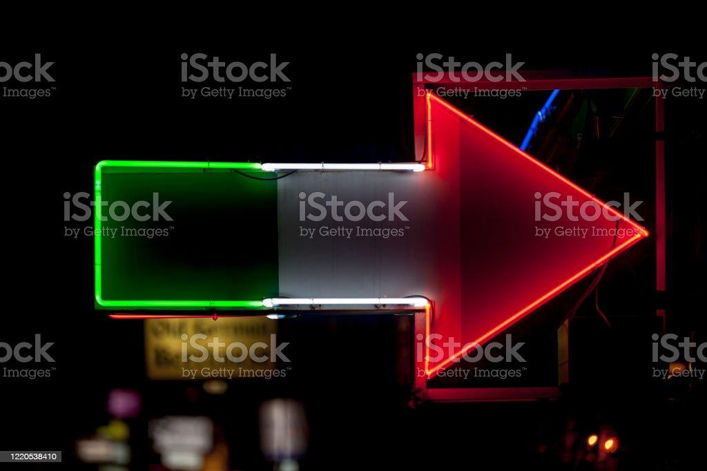 Neon light - Italian restaurant - Royalty-free Arrow Symbol Stock Photo