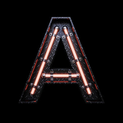 istock Neon Light Letter A with red neon lights. 1172083431