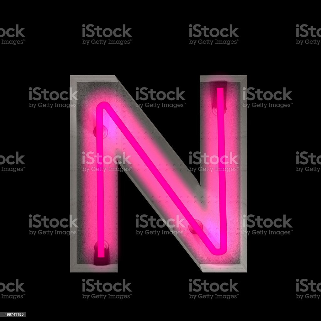 Neon Light Letter N Stock Photo & More Pictures of Alphabet   iStock