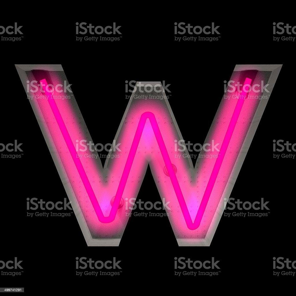 Neon Light Letter W stock photo