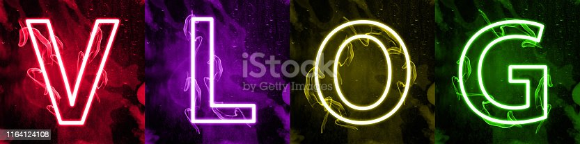 istock Neon light lettering of modern social media's term 1164124108