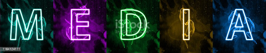 istock Neon light lettering of modern social media's term 1164124111