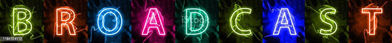 istock Neon light lettering of modern social media's term 1164124112