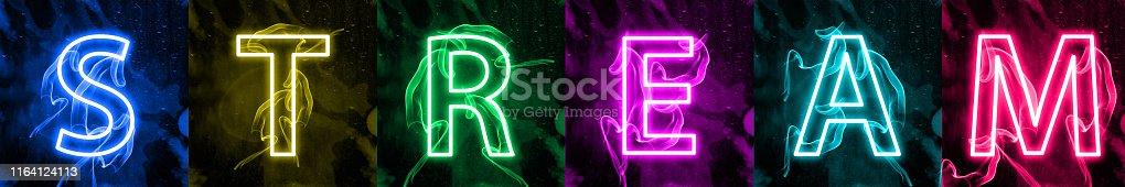istock Neon light lettering of modern social media's term 1164124113