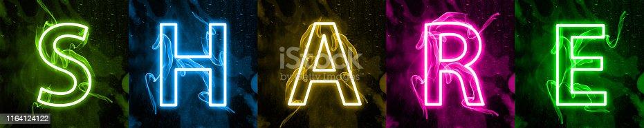 istock Neon light lettering of modern social media's term 1164124122
