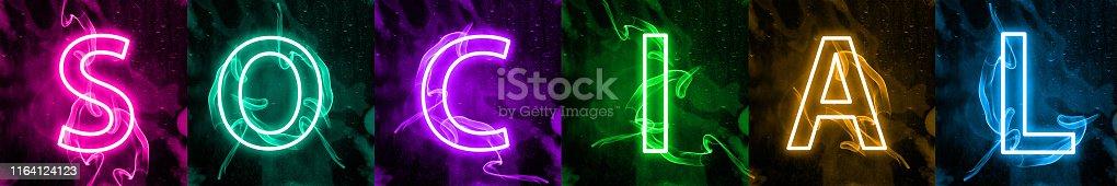 istock Neon light lettering of modern social media's term 1164124123