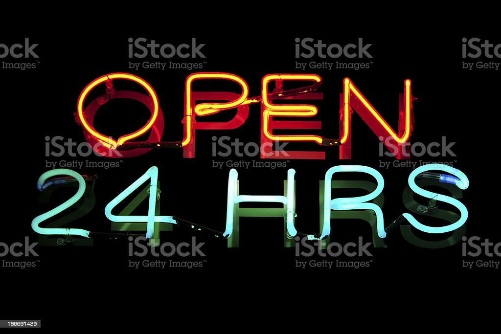 Neon light : open 24 hours stock photo