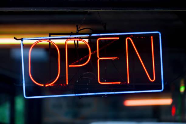 Neon light - Open stock photo