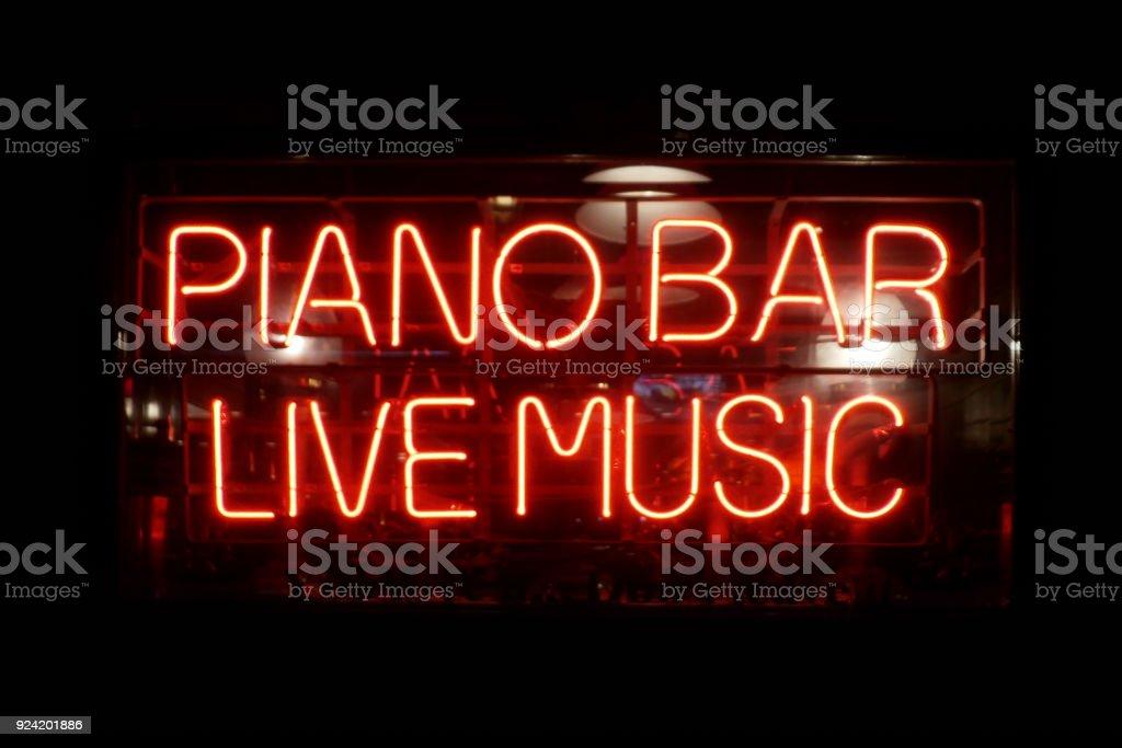 Neon light : Piano Bar, Live Music stock photo