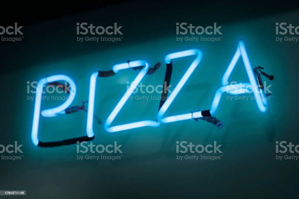 "Neon light - Pizza Cyan neon light shaped into the word ""pizza"". Black Color Stock Photo"