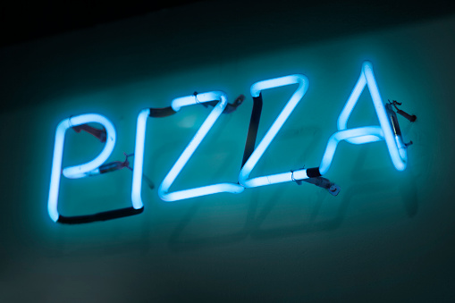 Neon Light Pizza Stock Photo - Download Image Now
