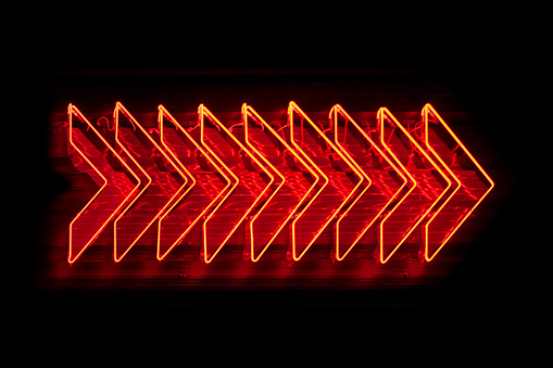 Neon Light Red Arrows Stock Photo - Download Image Now