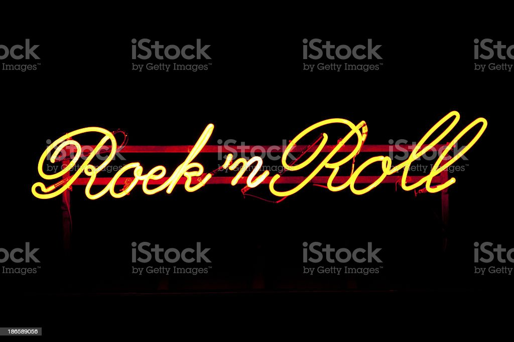 Neon light rock'n roll stock photo