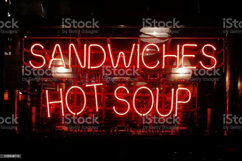 Neon light - Sandwiches, Hot soup - Royalty-free Bar - Drink Establishment Stock Photo