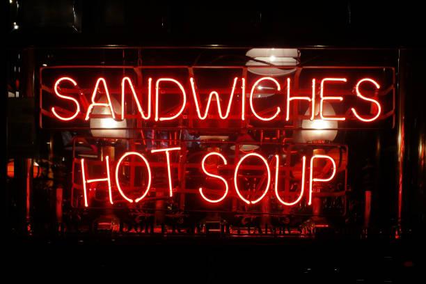 Neon light - Sandwiches, Hot soup stock photo